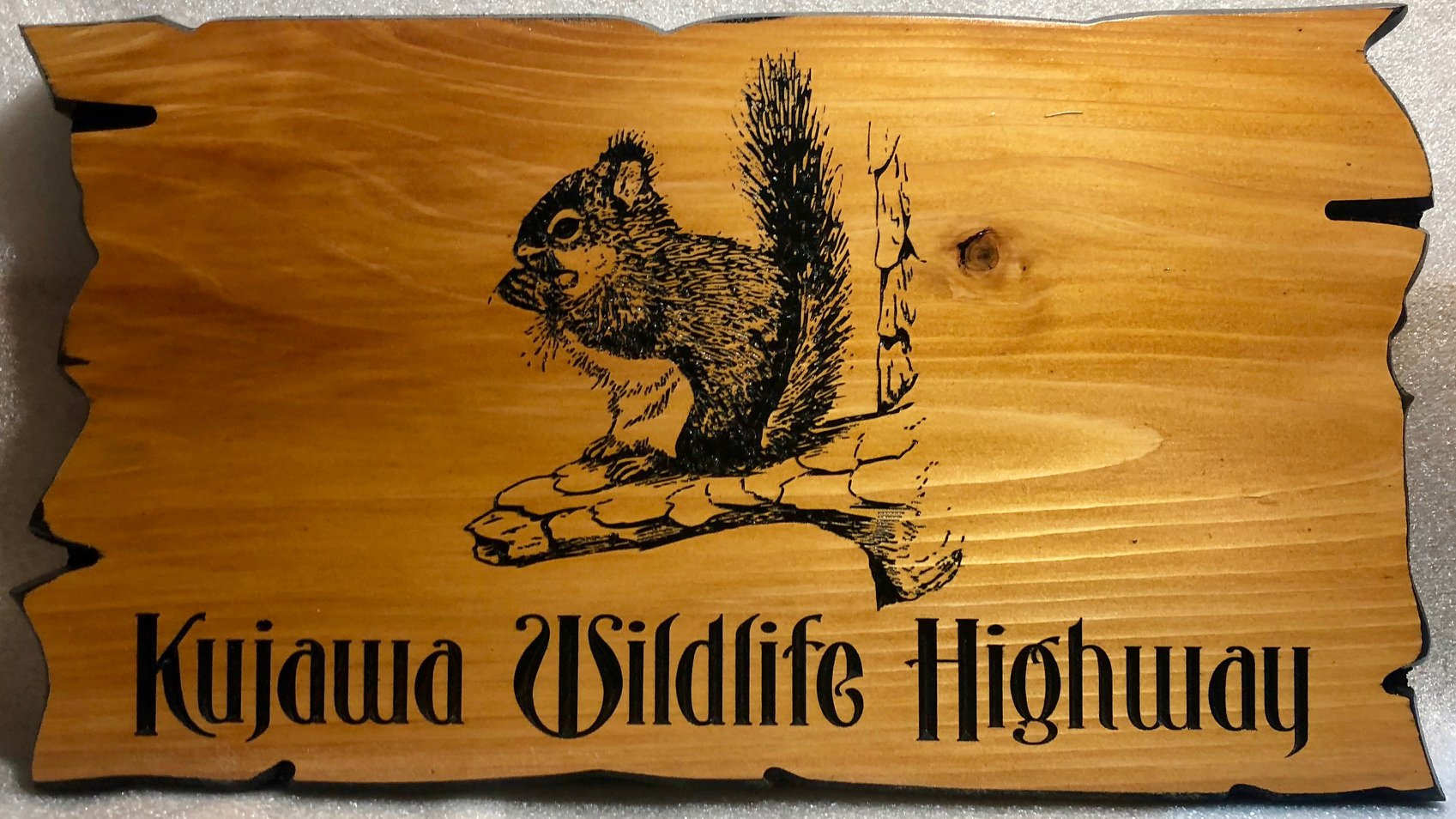 602  Wood carving forest trail sign with carved squirrel