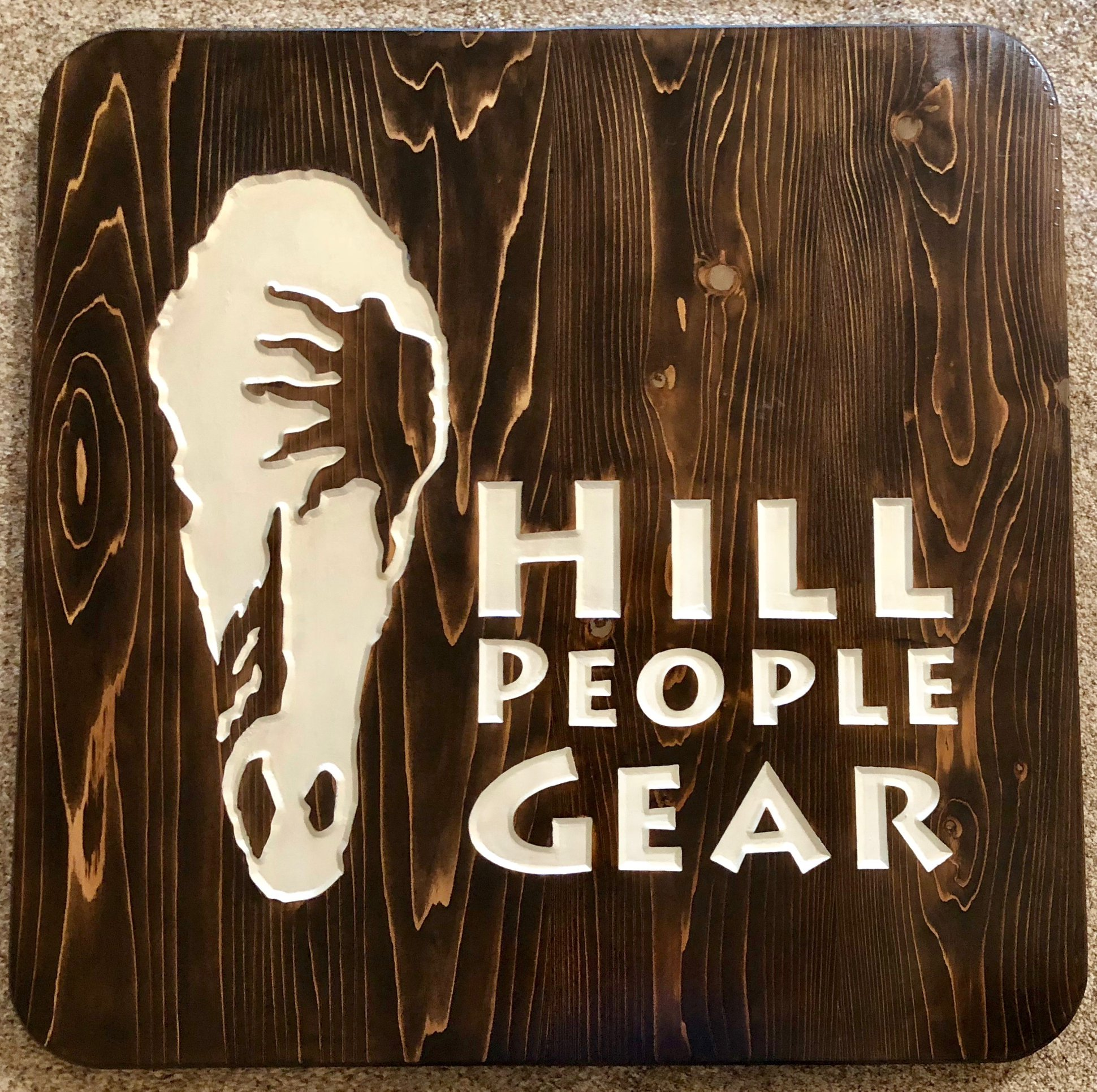 612  commercial wood sign for Hill People Gear with horse Head graphic
