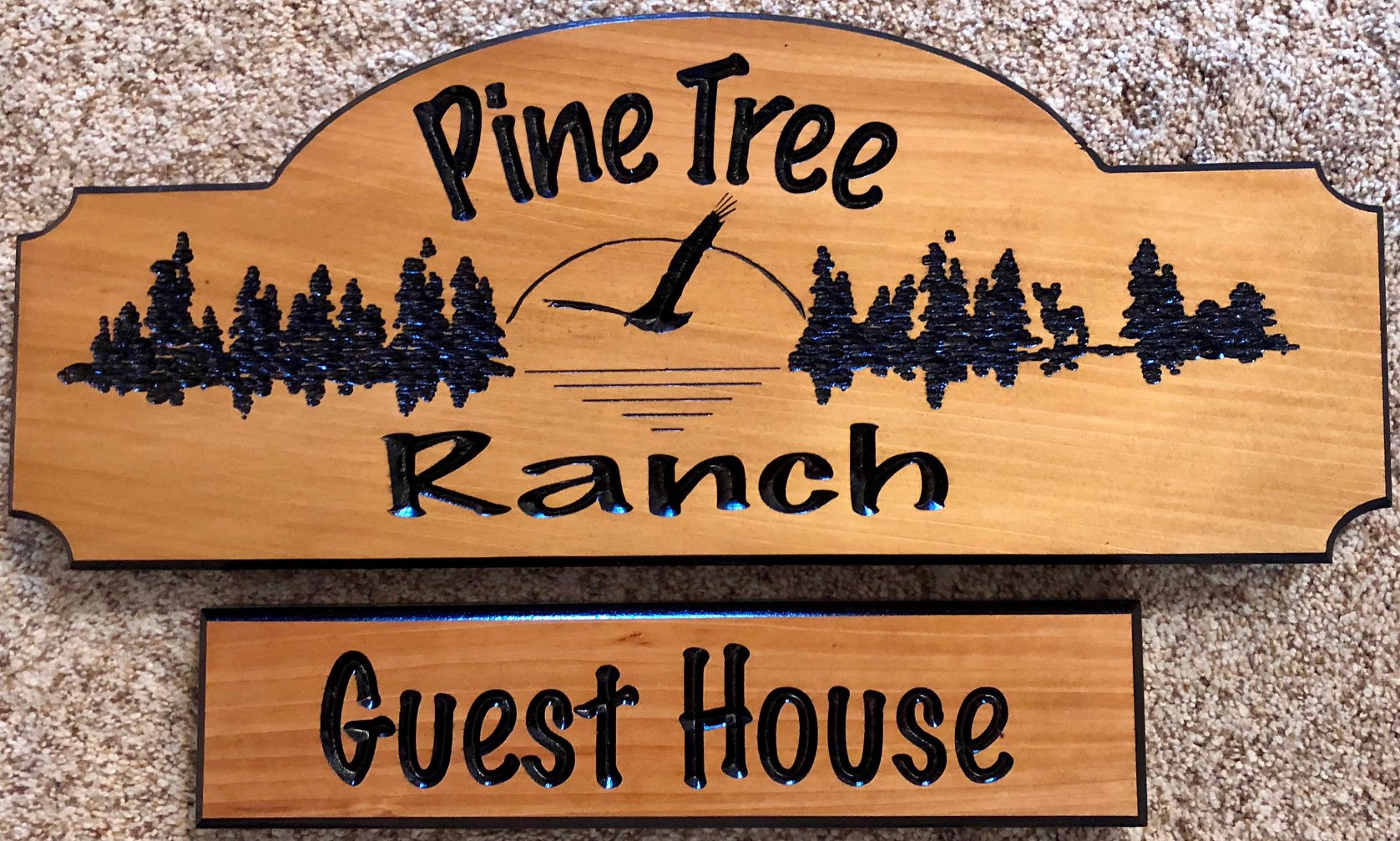 "613  Pine tree ranch wood sign with forest scene and hanging sign ""guest House"""