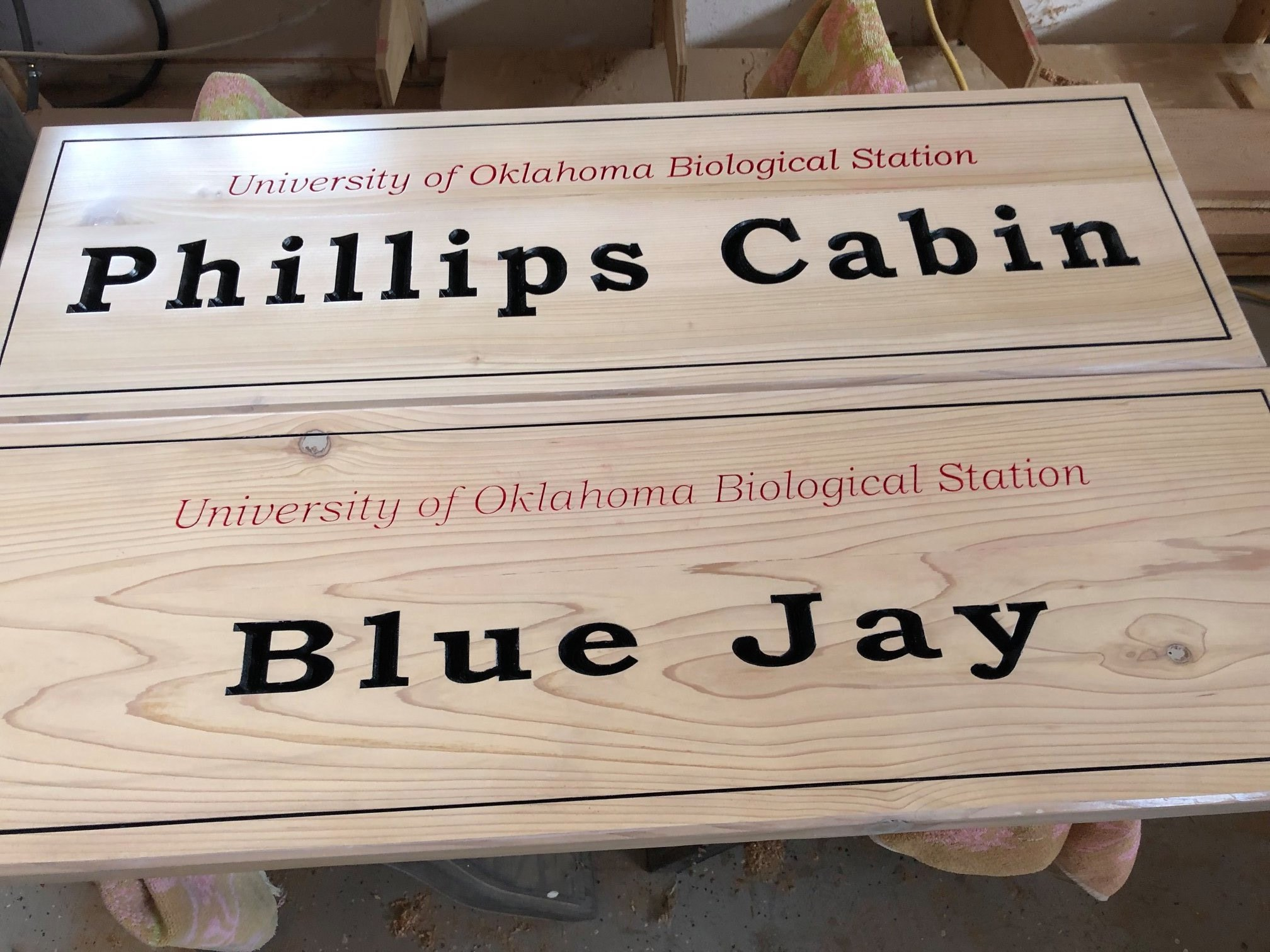 630... Custom outdoor wood sign for University of Oklahoma Biological station