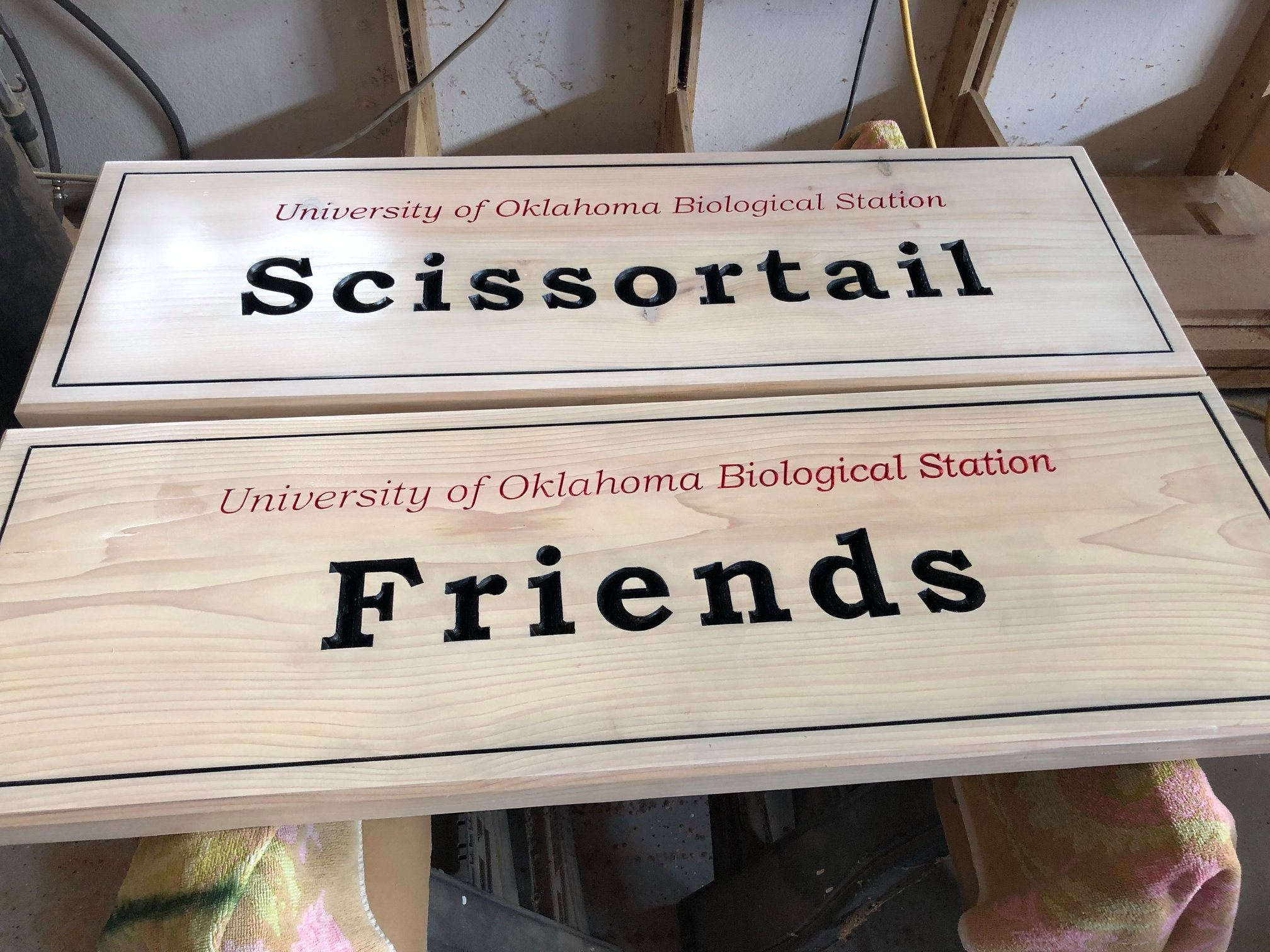 630A... Custom outdoor wood sign for University of Oklahoma Biological station