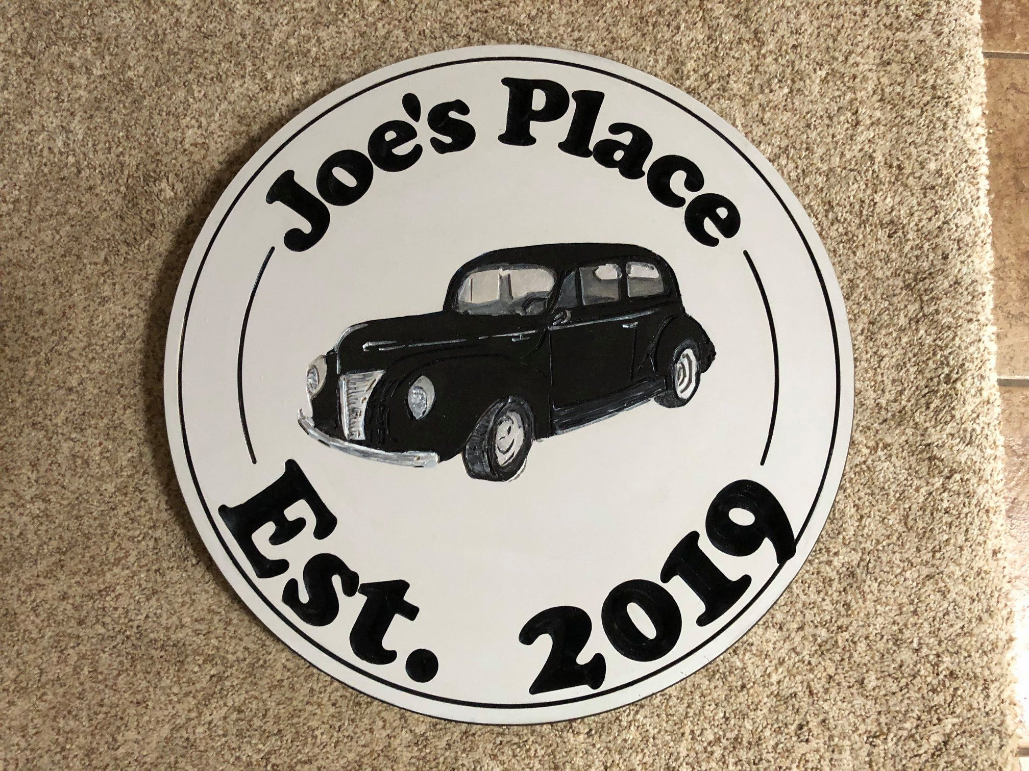 629  personalized wood sign with 40 Ford graphic