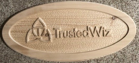 633  Carved wooden business sign