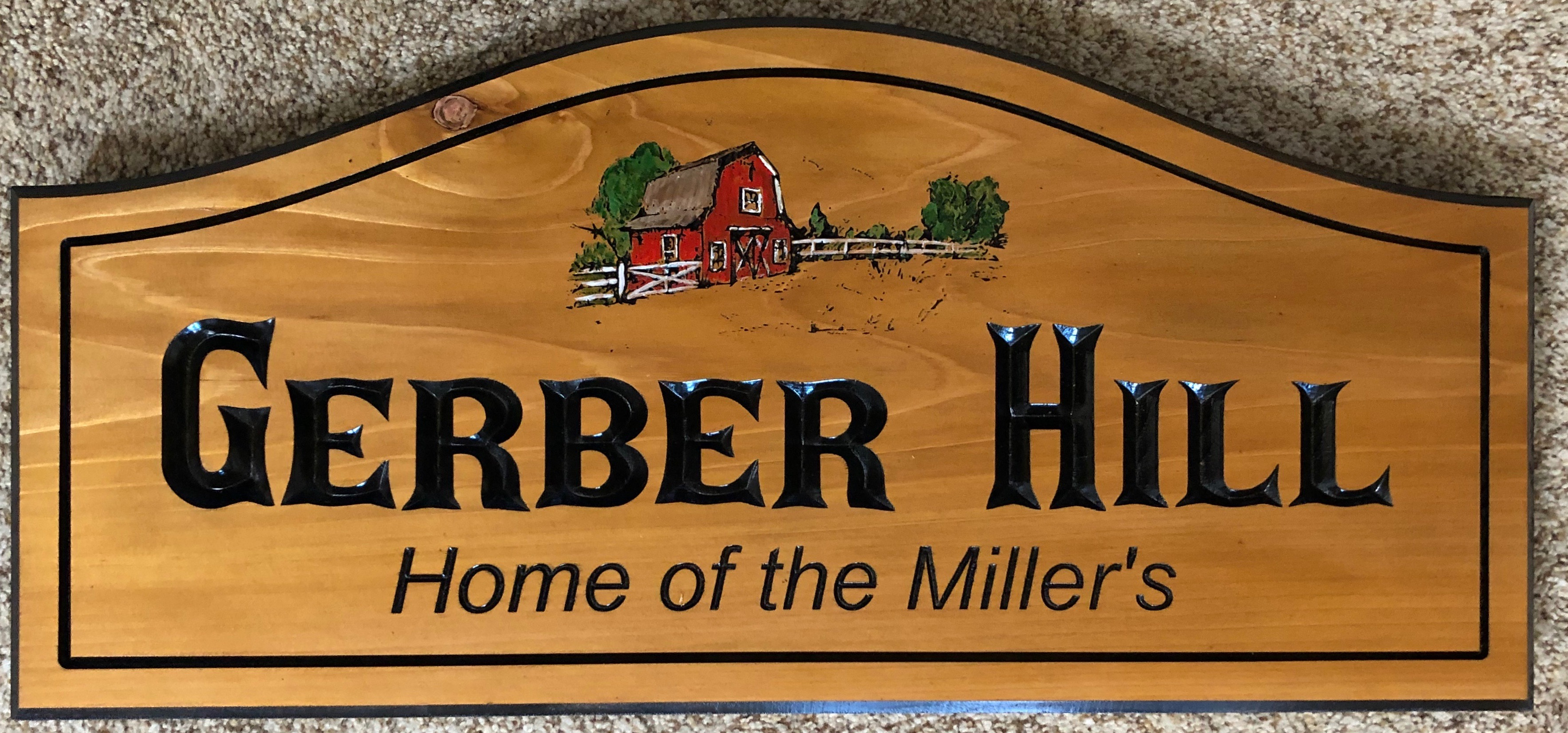"616  Home identity wood plaque ""Gerber Hill"" with barn graphics"