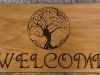 609  routed wood address sign with fantasy tree carving